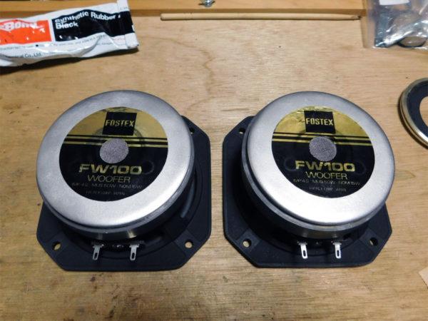 FOSTEX FW100のレストア、リコーン作業の画像その12:ラベルを貼り付け