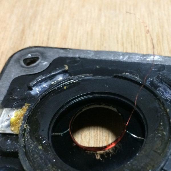 デノンのリングドームツイーターのボイスコイルのアップ画像