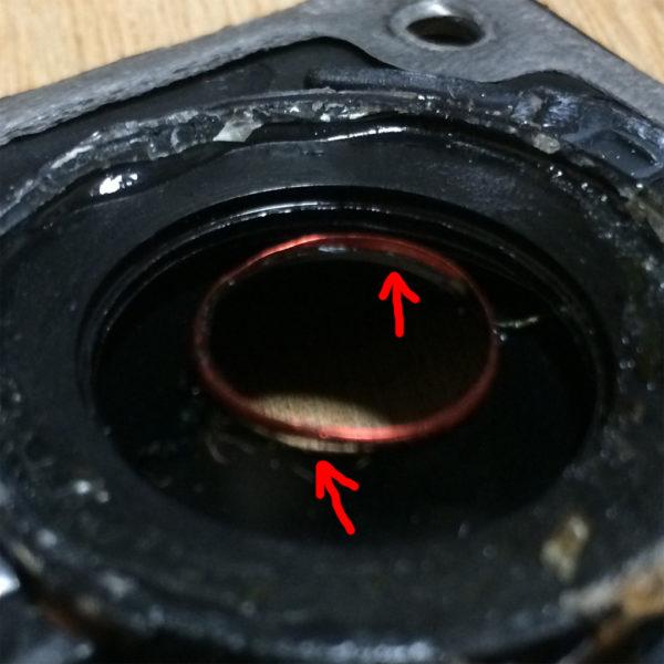 デノンのリングドームツイーターの破損ボイスコイルのアップ画像