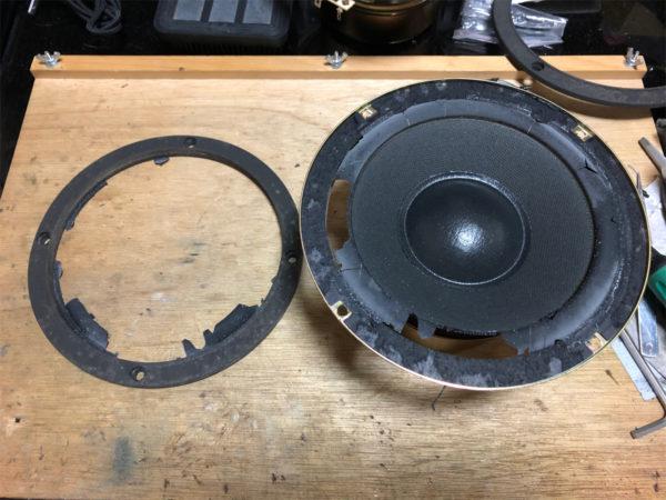 DENON SC-7.5、ウーファーのエッジ修理