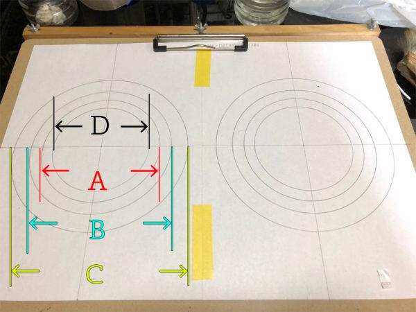 スピーカーエッジの作り方、台紙に製図