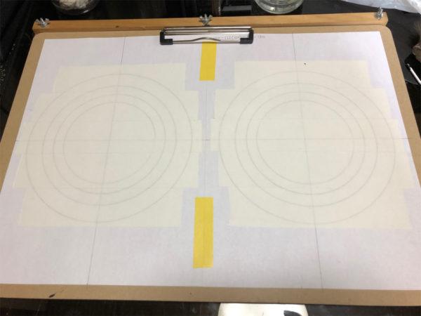 スピーカーエッジの作り方、両面テープの貼り付け
