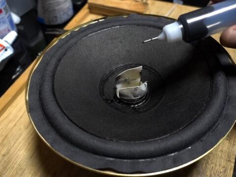 AIWA/アイワ・SC-E80、ウーファーのエッジの貼り付けその1